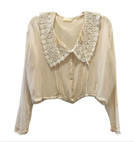 Wyld Blue Vintage Blush Sheer Silk Chiffon with Lace Collar Blouse (Antique) WLT6ON0725