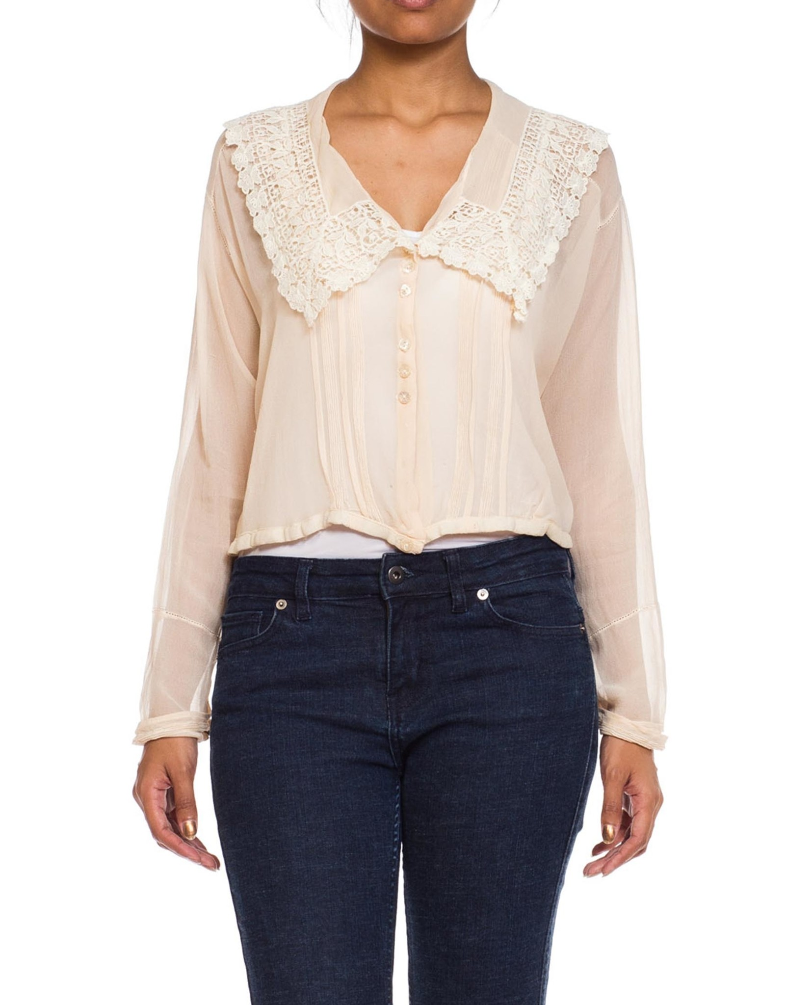Wyld Blue Vintage Blush Sheer Silk Chiffon with Lace Collar Blouse (Antique)