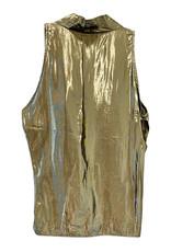 Wyld Blue Vintage Gold Lamé Disco Halter Top (1980s Vintage) T7ON0556