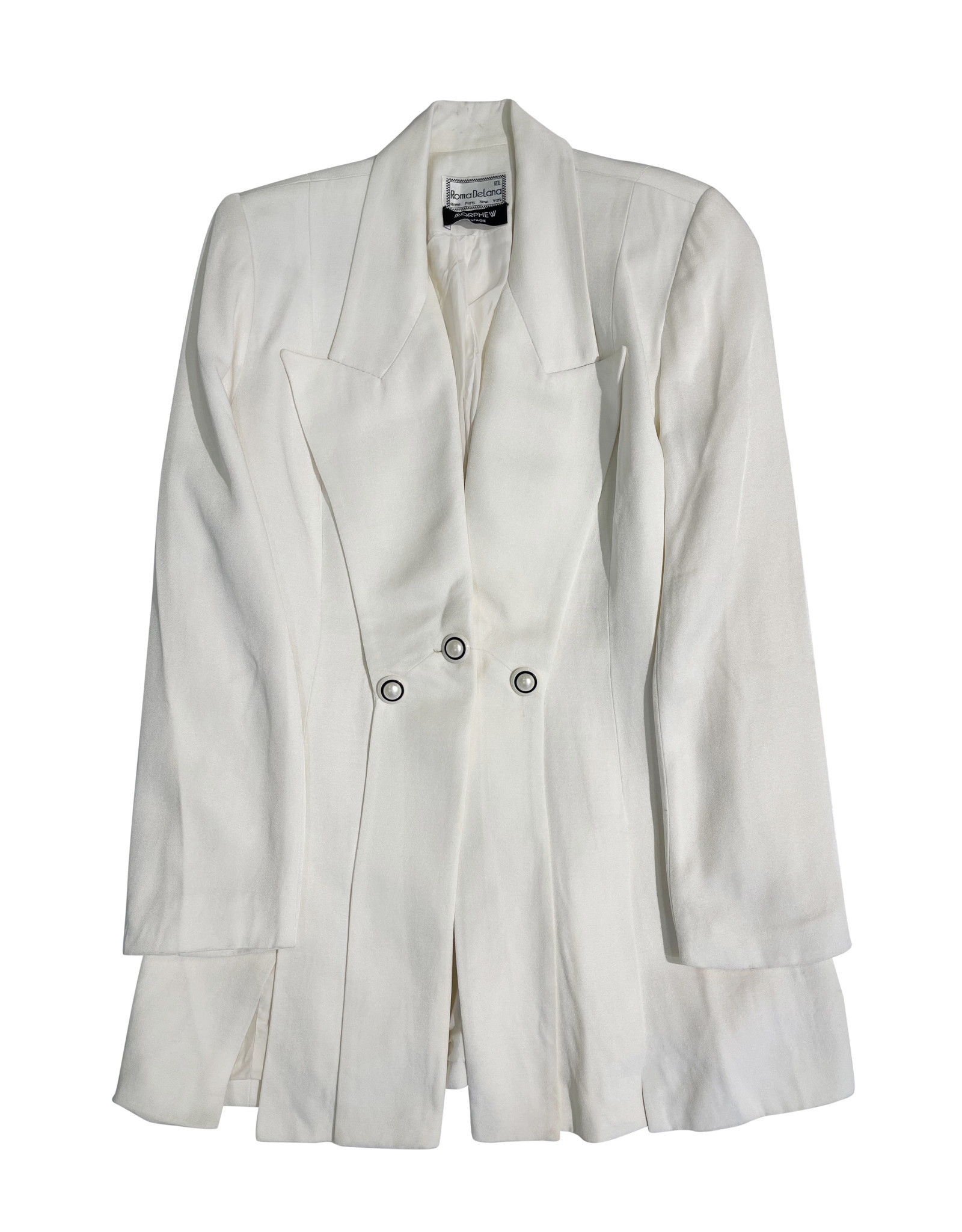 Wyld Blue Vintage Ivory Peak Lapel Blazer with Pearl Buttons (1990s)