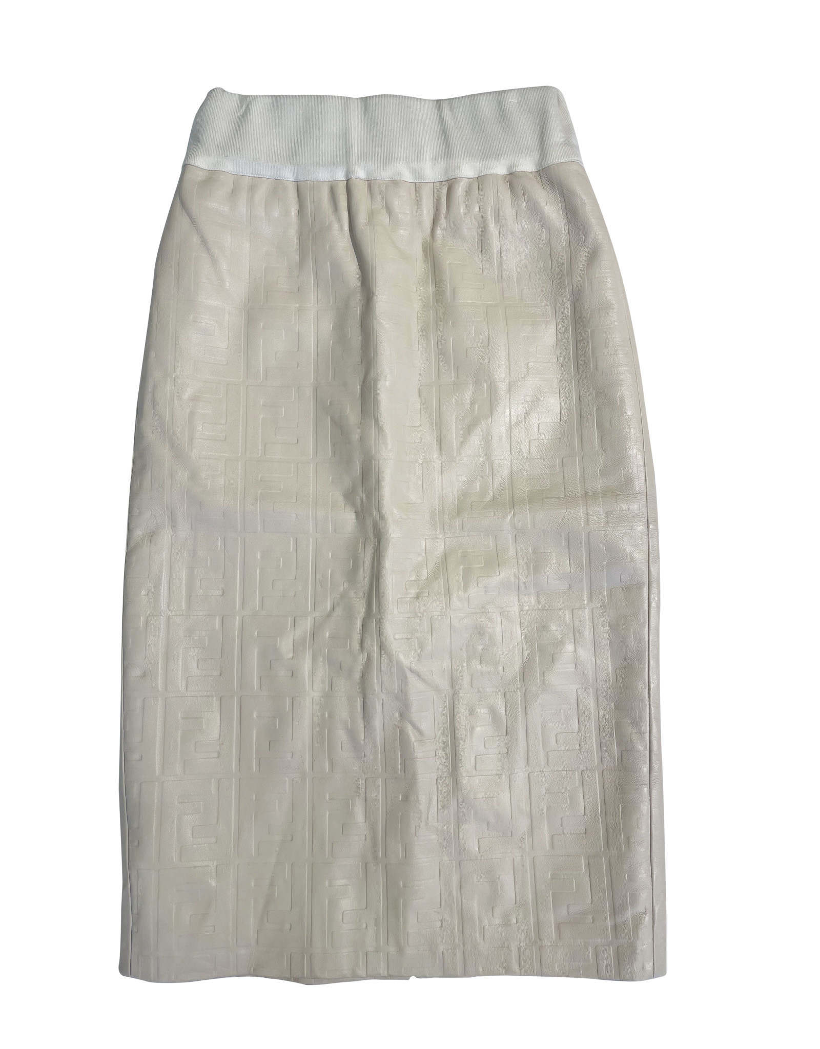 Wyld Blue Long Fendi Leather Skirt Cream