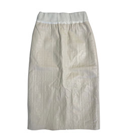 Wyld Blue Long Fendi Leather Skirt Cream