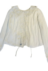 Wyld Blue Vintage White Lace Collared Top