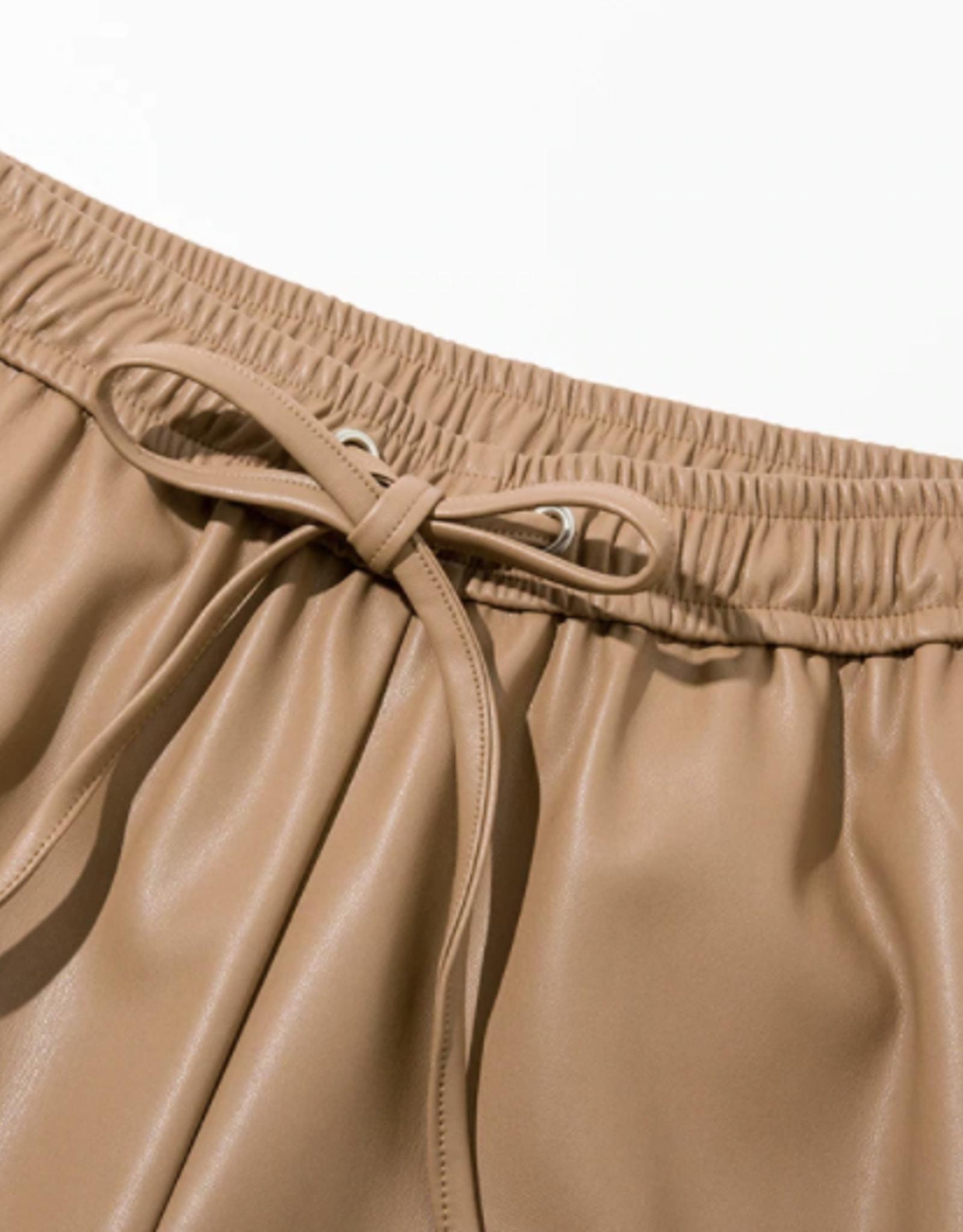 Wyld Blue Camel Leather Drawstring Pants