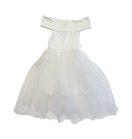 Wyld Blue Kids White Ribbed Tutu Dress