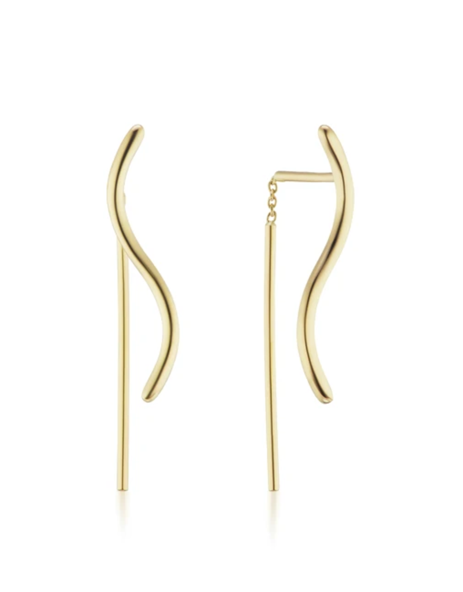 KBH Jewels S Thread Earrings Yellow Gold