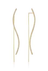 KBH Jewels S Diamond Thread Earrings Yellow Gold