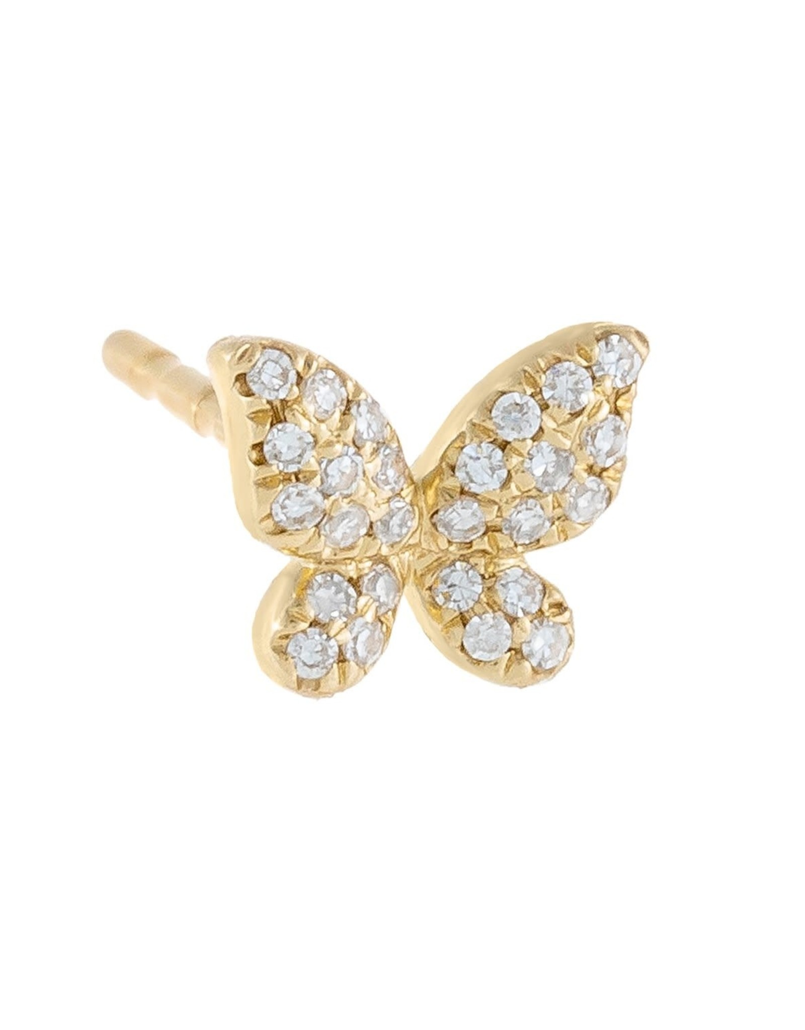 Adinas Diamond Mini Butterfly Stud Earring 14k