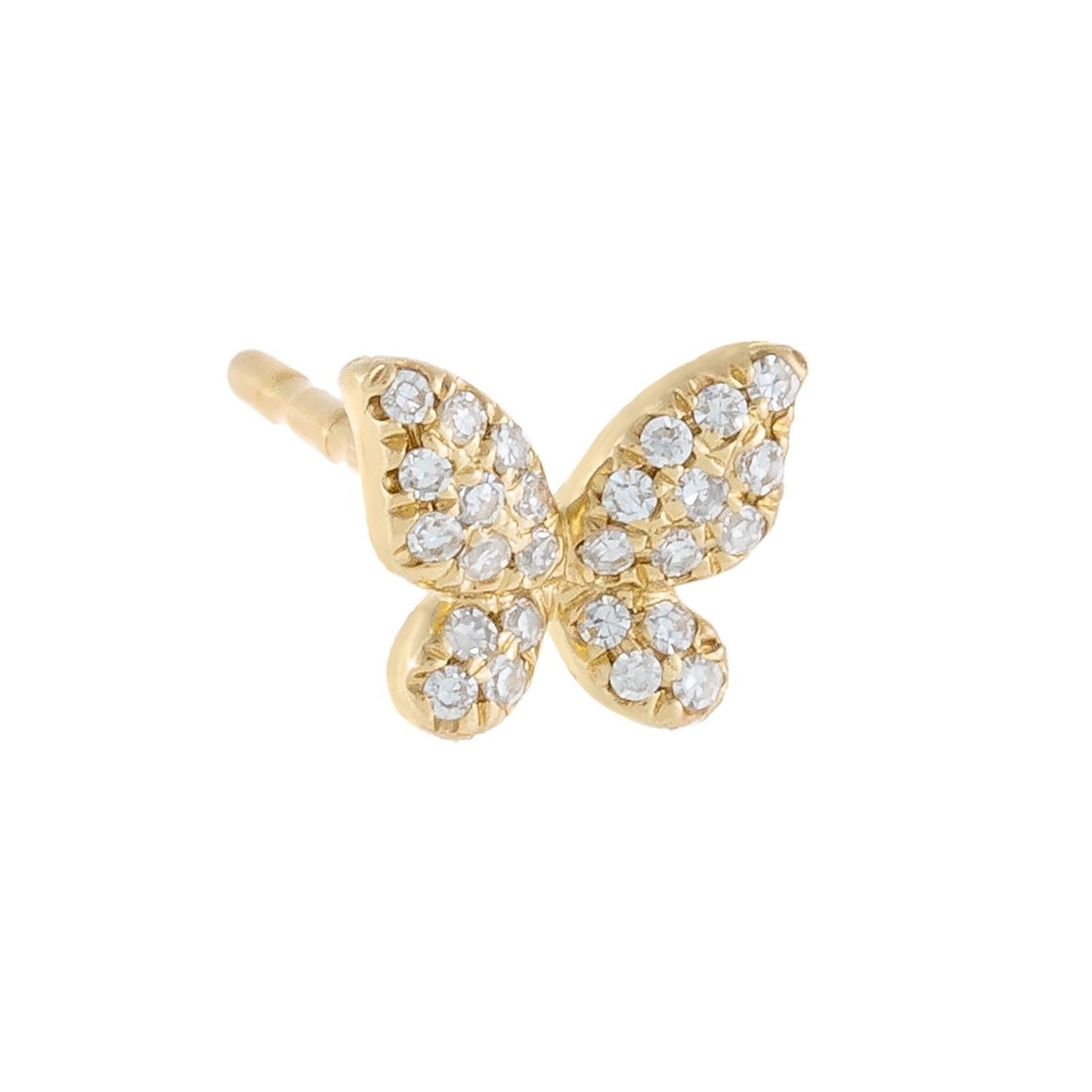 Adinas Diamond Mini Butterfly Stud Earring 14k