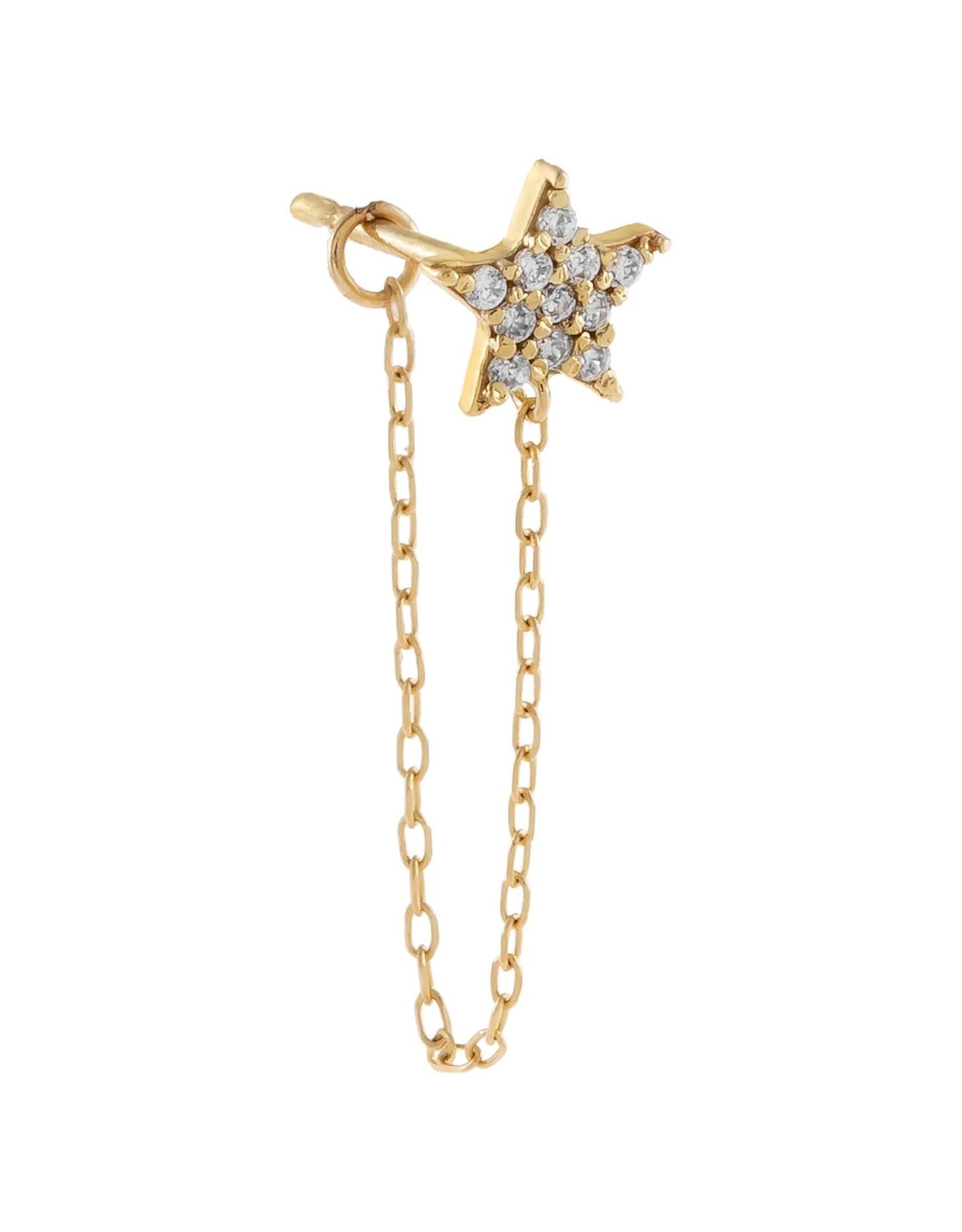 Adinas CZ Star Chain Stud Earring 14k