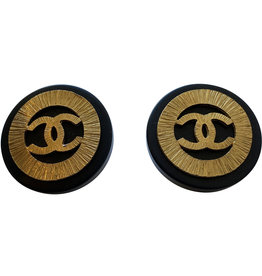 Chanel Chanel Vintage Black Sunburst Clip-On Studs (1992 Vintage)
