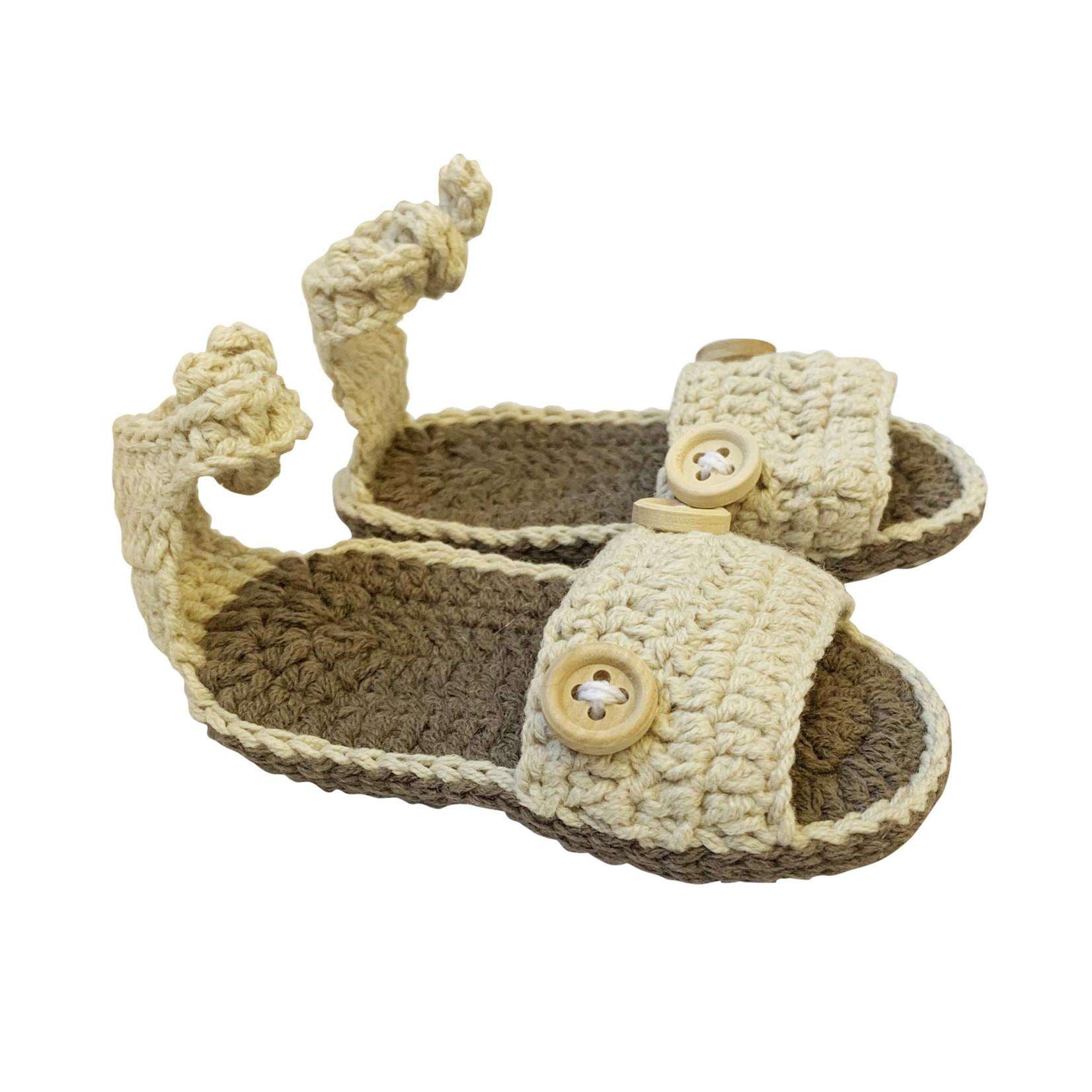 Wyld Blue Kids Baby Knit Sandals Beige