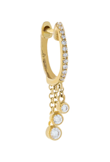 Adinas Diamond Bezel Dangling Huggie Single 14K
