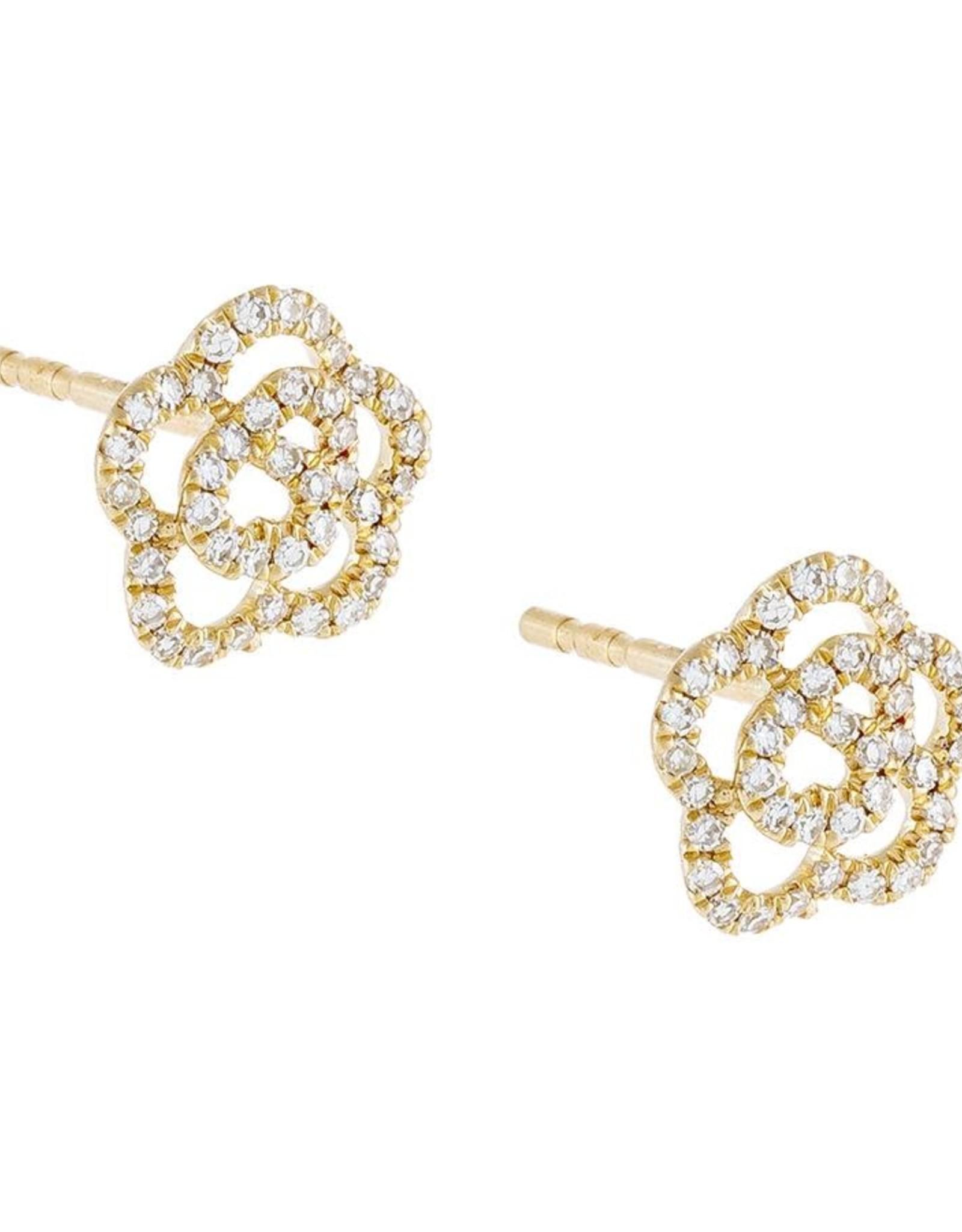 Adinas Diamond Rose Flower Stud Earrings 14K
