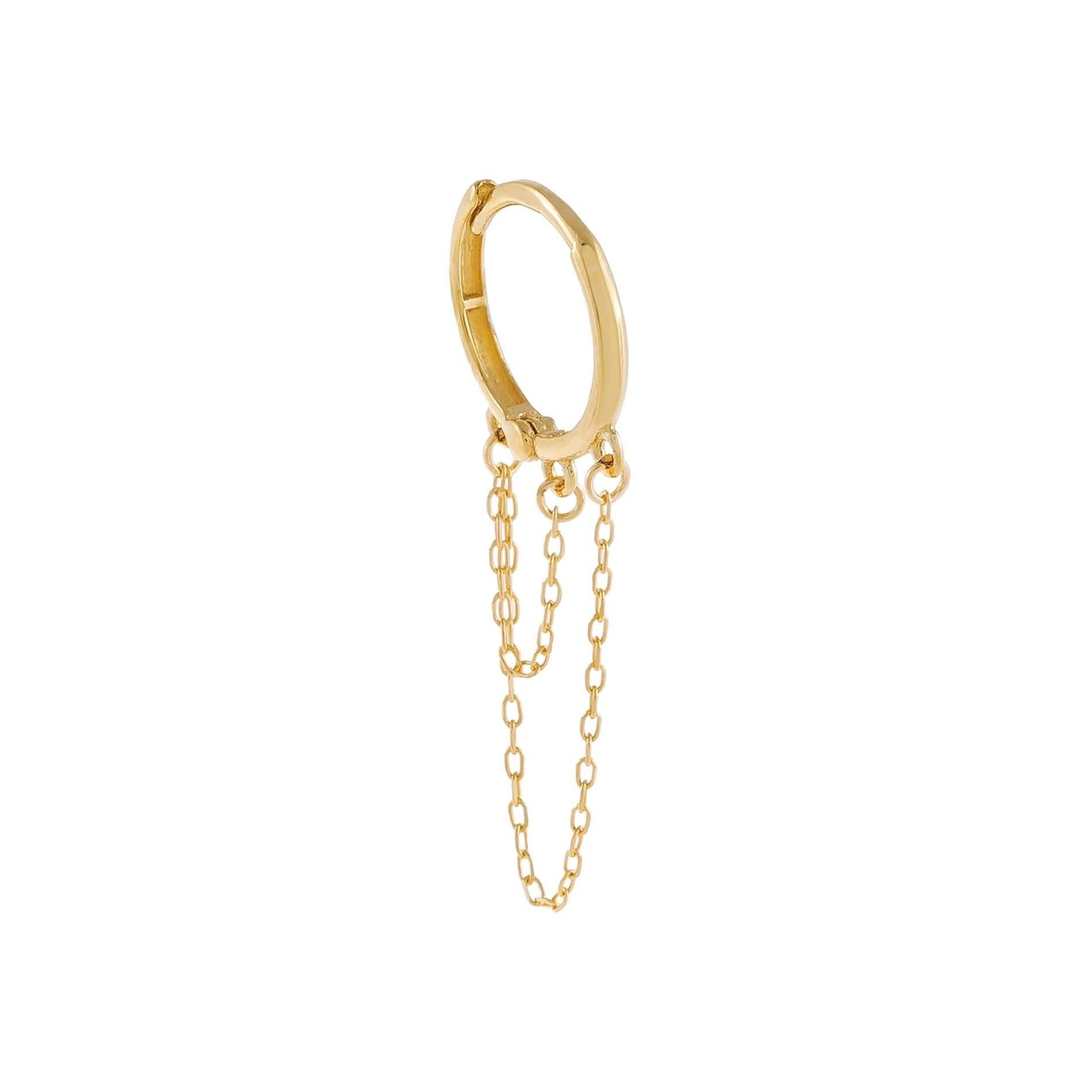 Adinas Thin Solid Double Chain Cartilage Huggie Single 14K