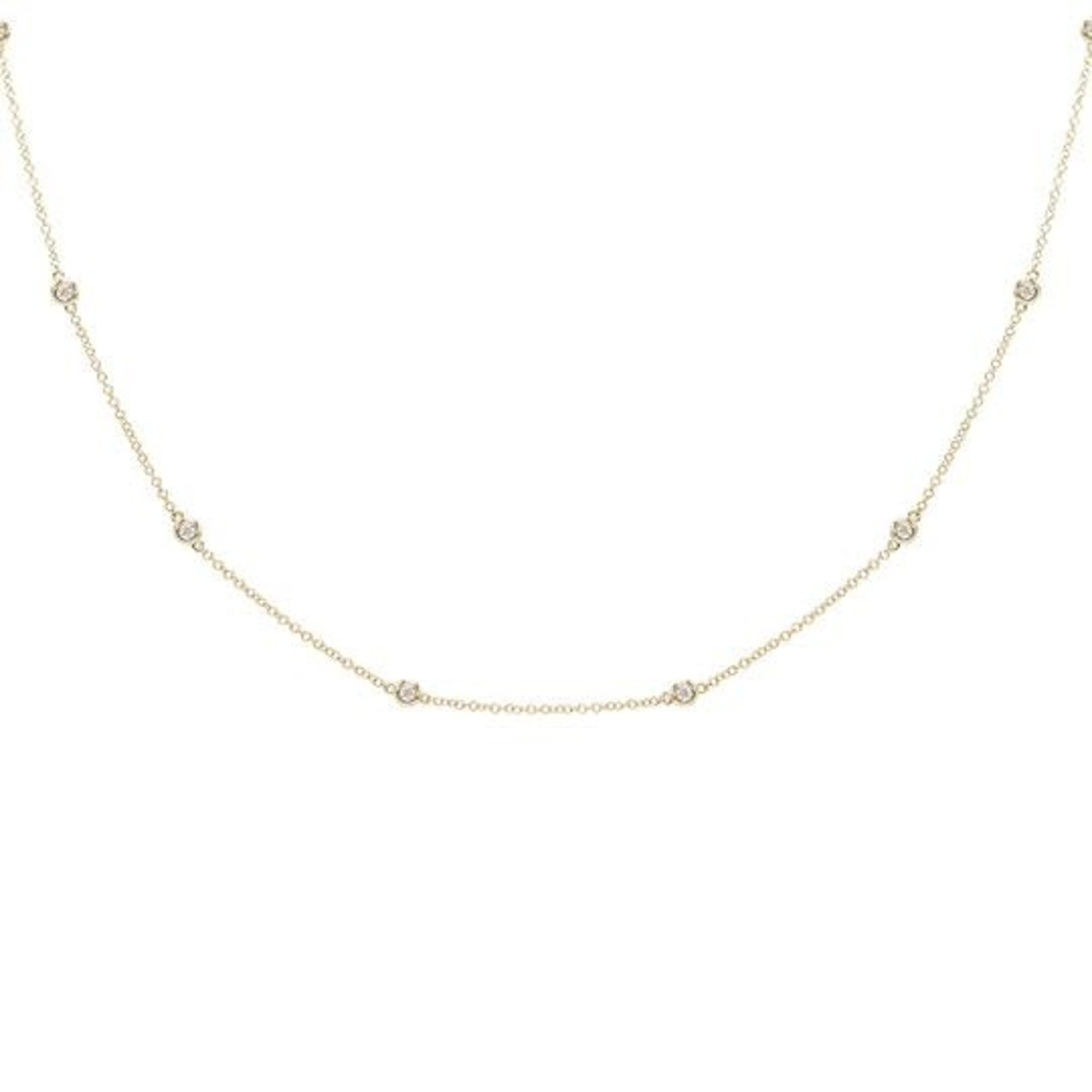 Adinas Diamond Bezel Chain Necklace 14k