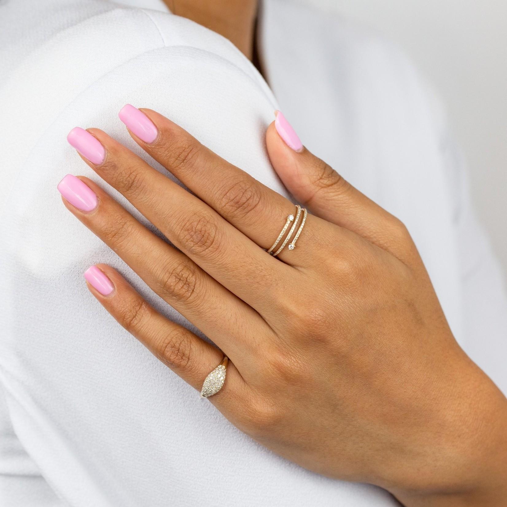 Adinas Diamond Signet Ring 14K Size 4