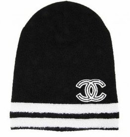 Wyld Blue Vintage Chanel Double White Striped Beanie