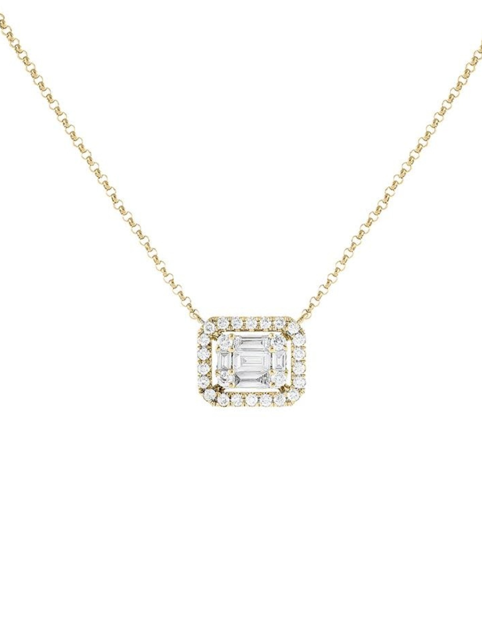 Adinas Diamond Illusion Sideways Baguette Pendant Necklace 14K