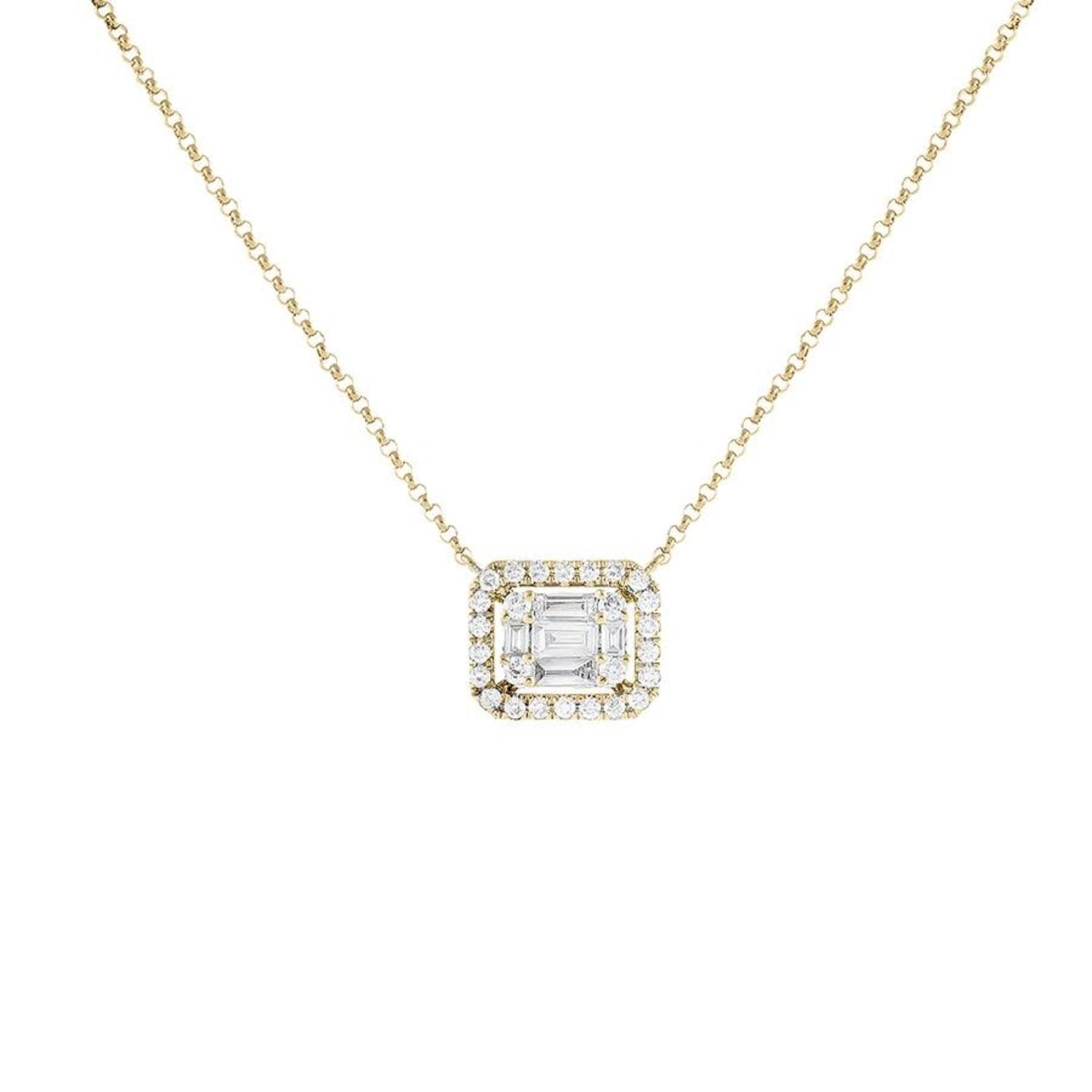Adinas Diamond Illusion Sideways Baguette Pendant Necklace 14K