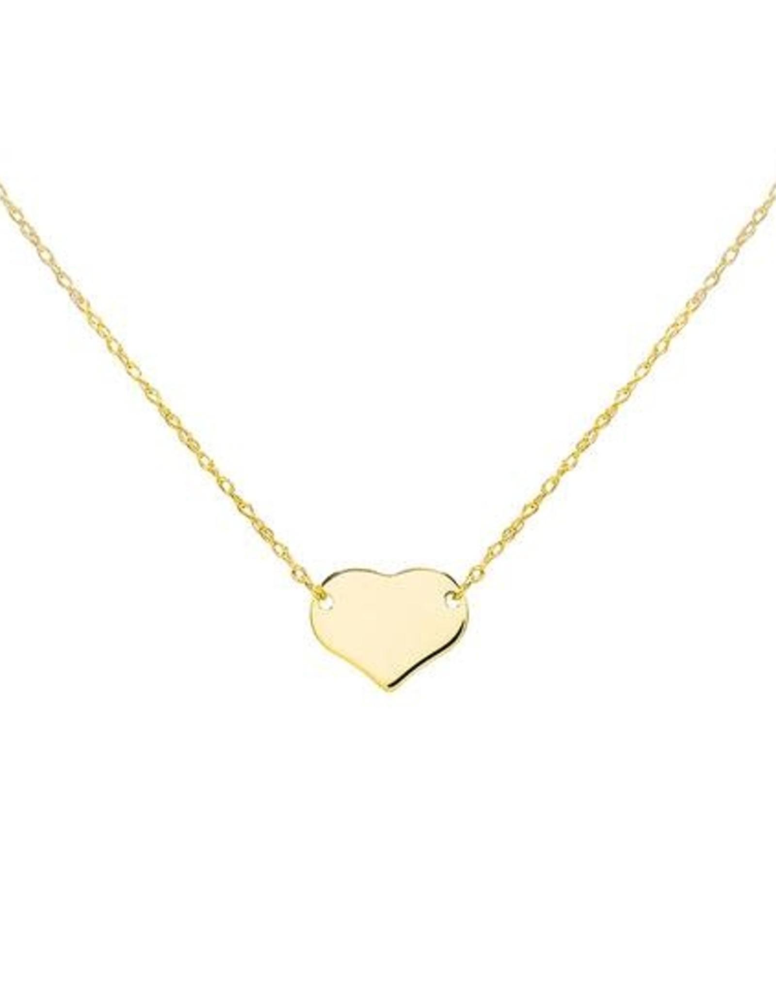 Adinas Engraved Mini Heart Necklace 14K