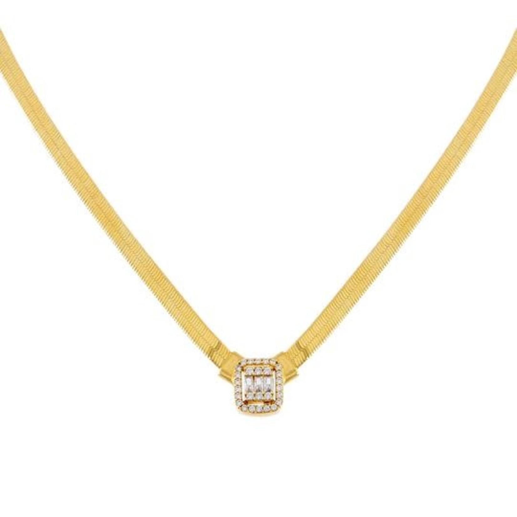 Adinas CZ Illusion Baguette Herringbone Necklace 14K