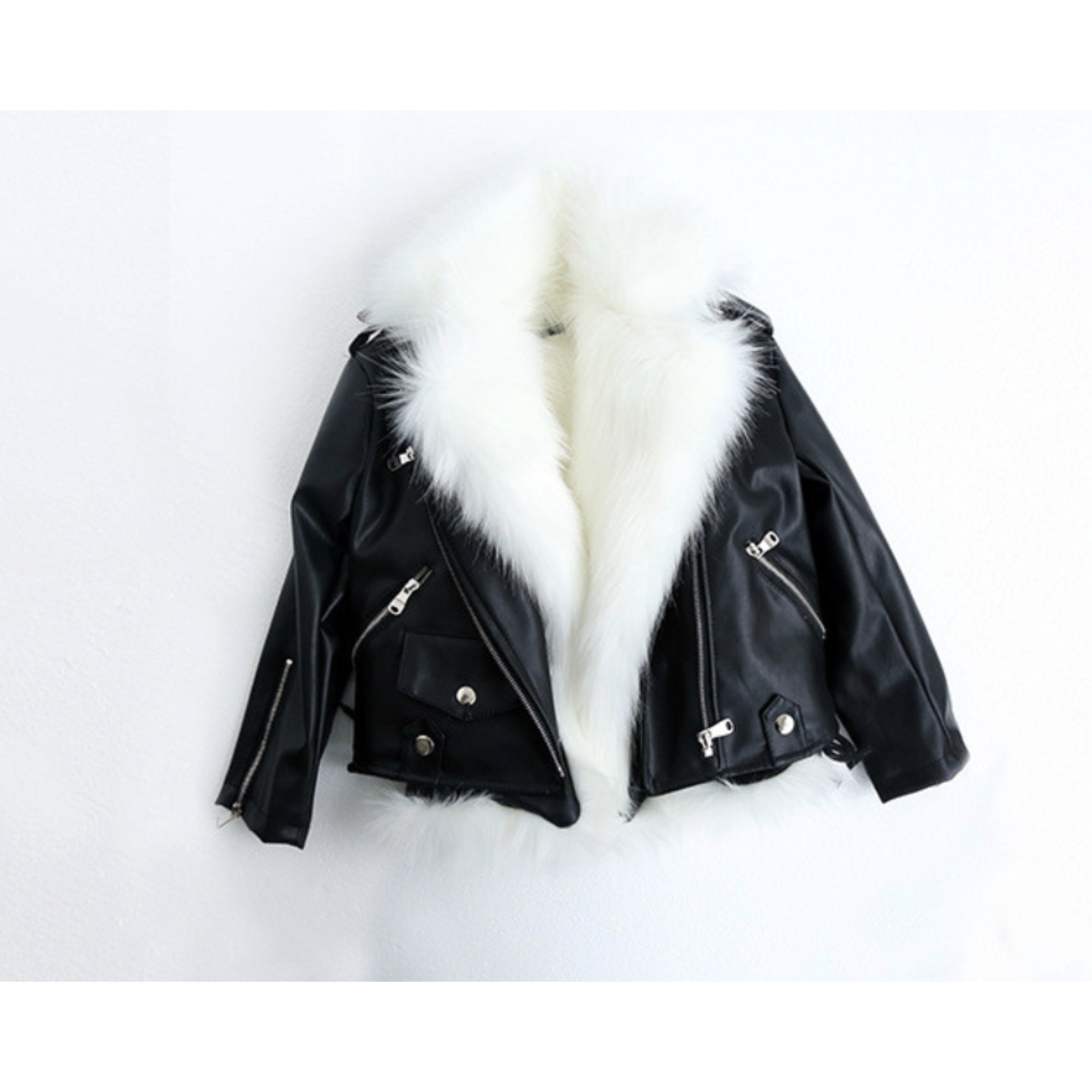 Wyld Blue Leather + Fur Vest Moto Jacket