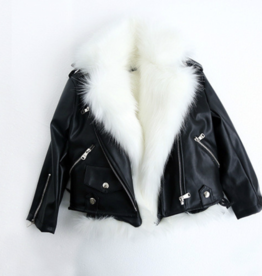 Wyld Blue Leather + Fur Vest Moto Jacket