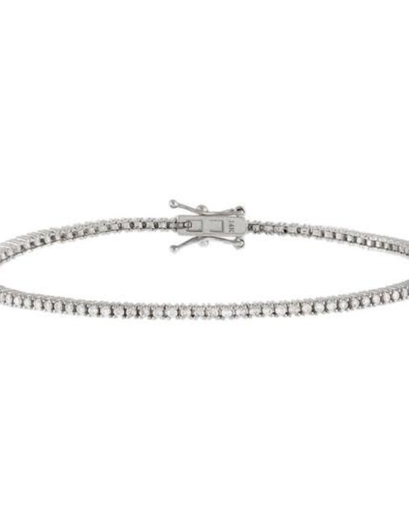 "Adinas Diamond Thin Tennis Bracelet 14K 7"" White Gold"