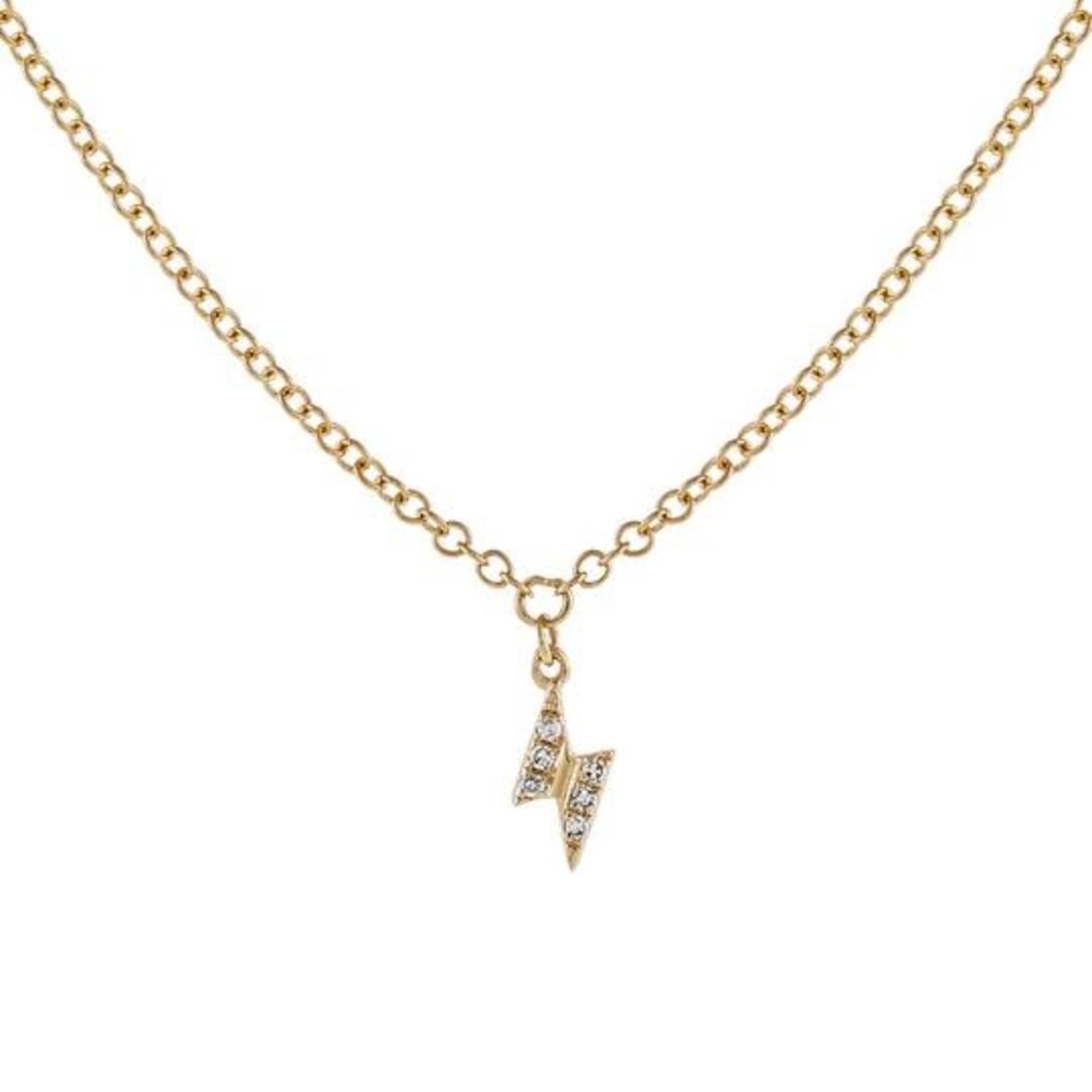 Adinas Diamond Tiny Lightning Bolt Necklace 14K