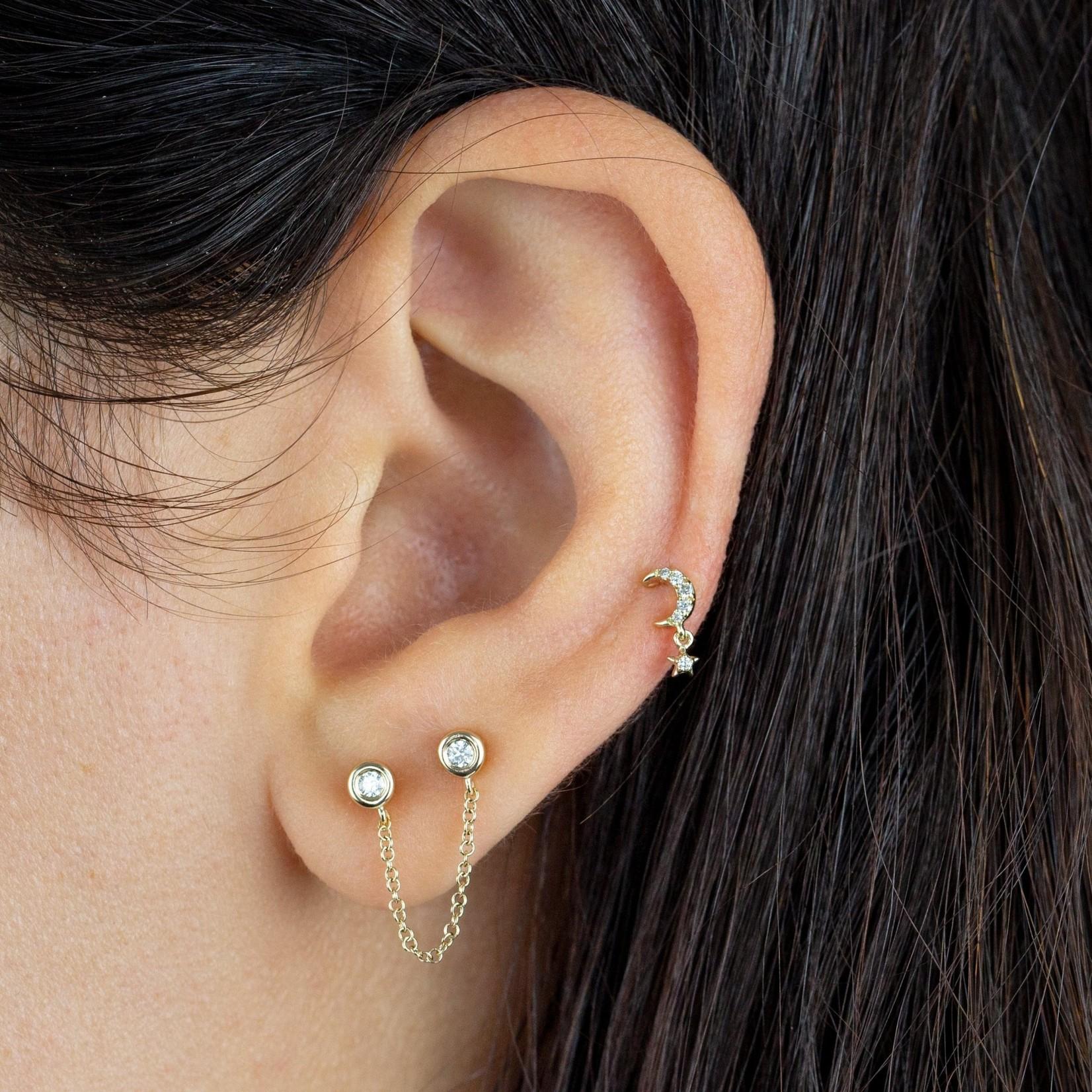 Adinas Diamond Double Bezel Chain Stud Earring 14K