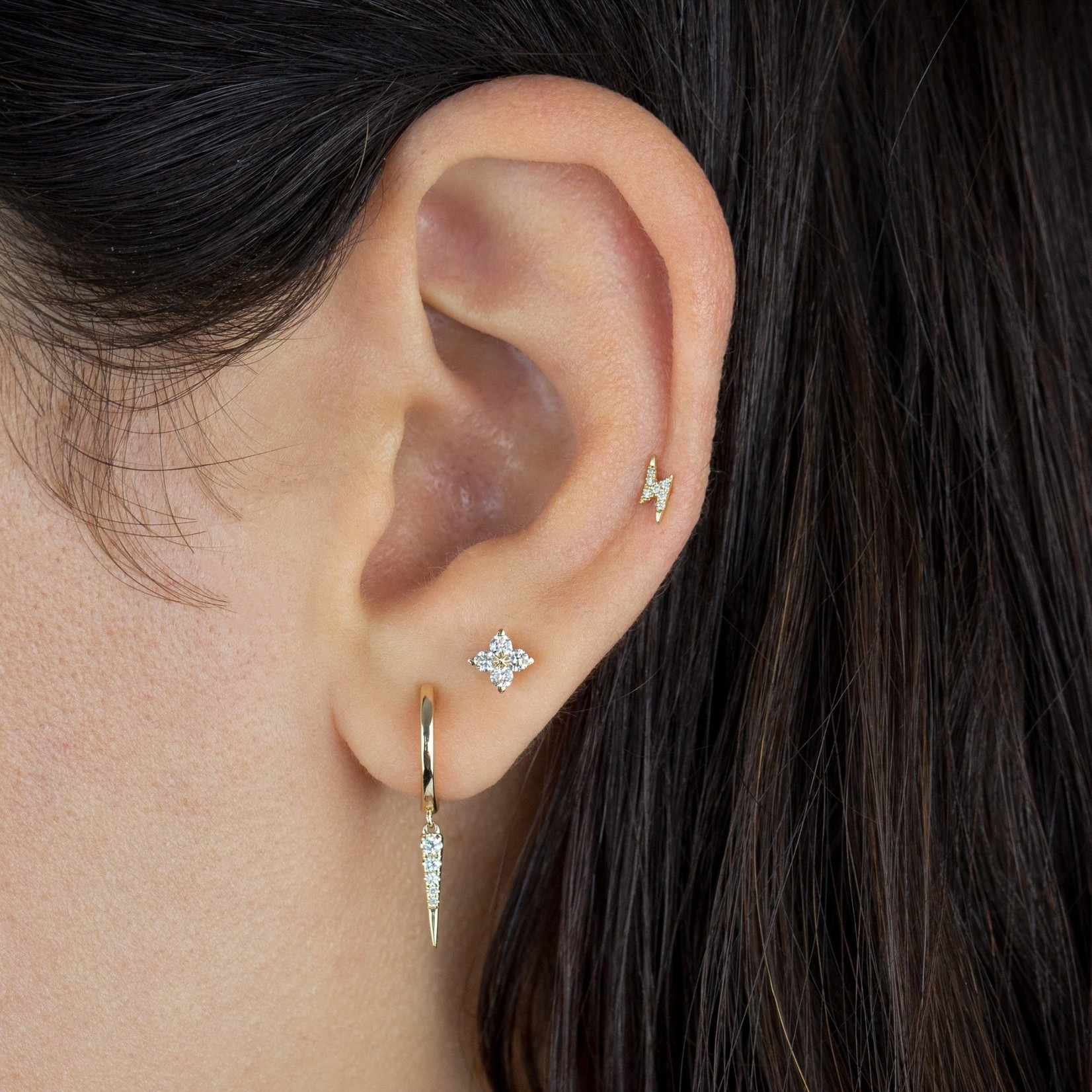 Adinas Diamond Tiny Lightning Bolt Stud Earring 14K