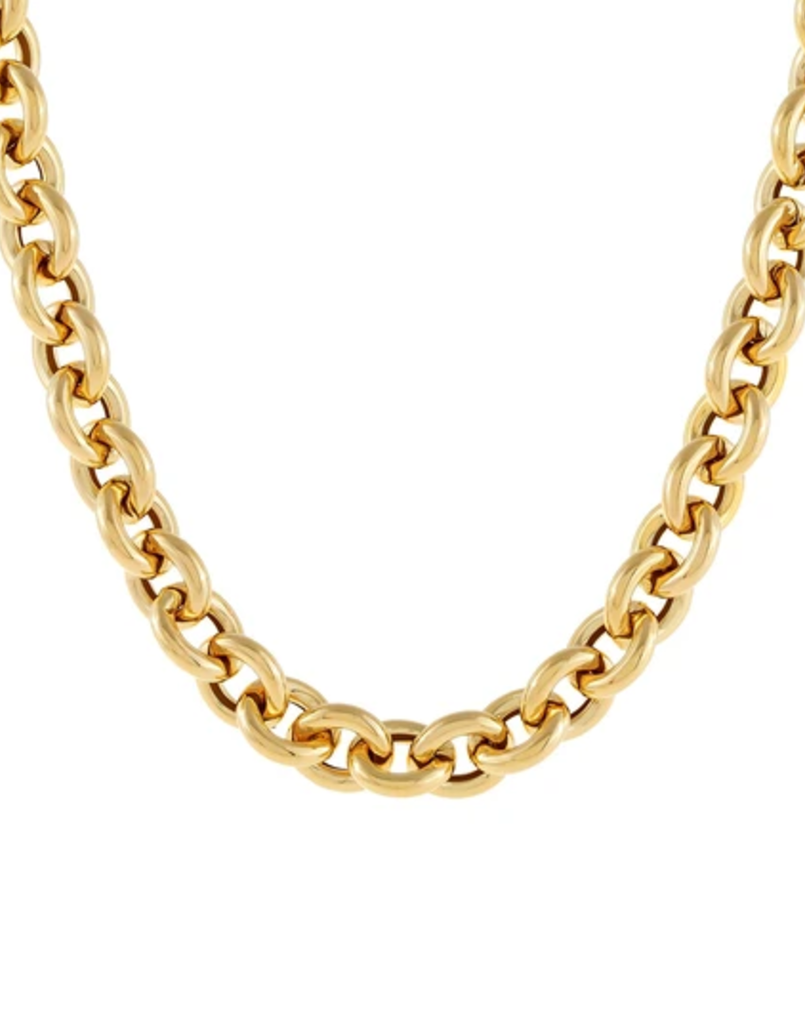 Adinas Hollow Rounded Rolo Necklace 14K