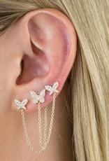 Adinas Diamond Double Butterfly Chain Stud Earring 14K