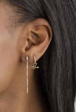 Adinas Diamond Snake Bar Drop Stud Earring 14K