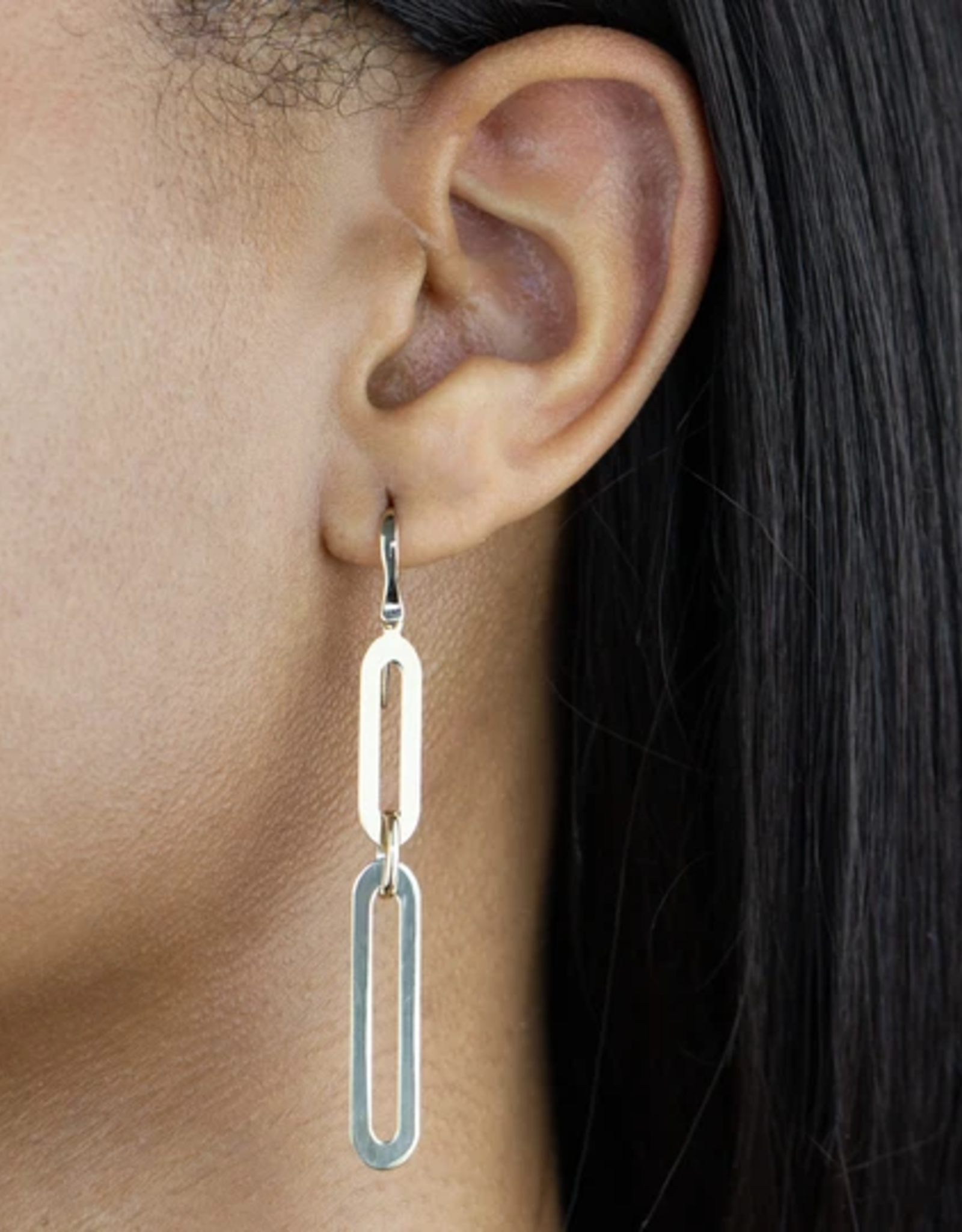 Adinas Large Paperclip Threader Drop Earring 14K