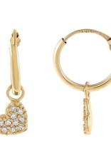 Adinas CZ Heart Hoop Earrings 14K