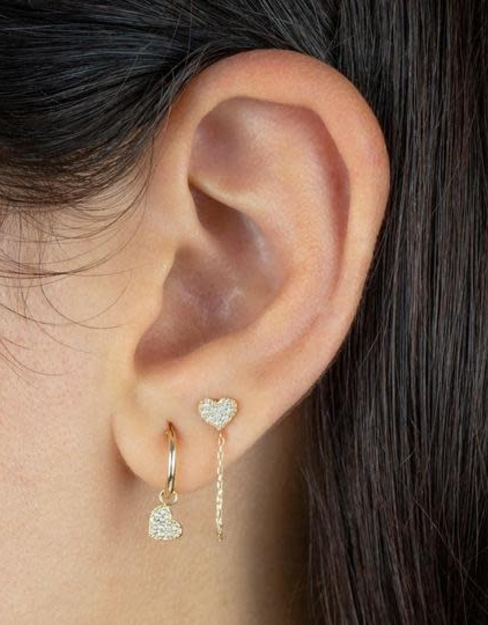 Adinas CZ Heart Hoop Earring 14K