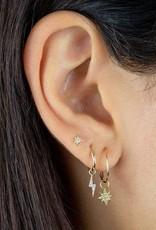 Adinas CZ Lightning Bolt Hoop Earrings 14K