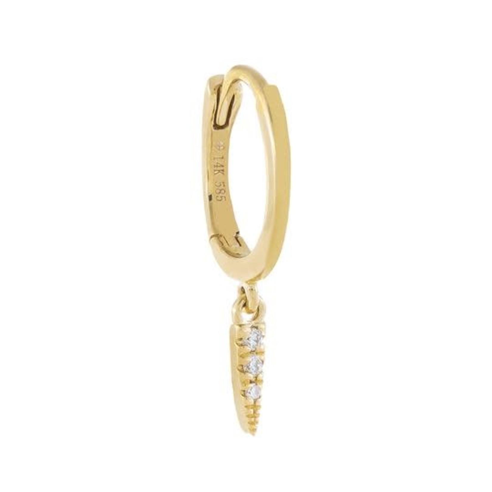 Adinas Diamond Dangling Spike Huggie Earring 14K