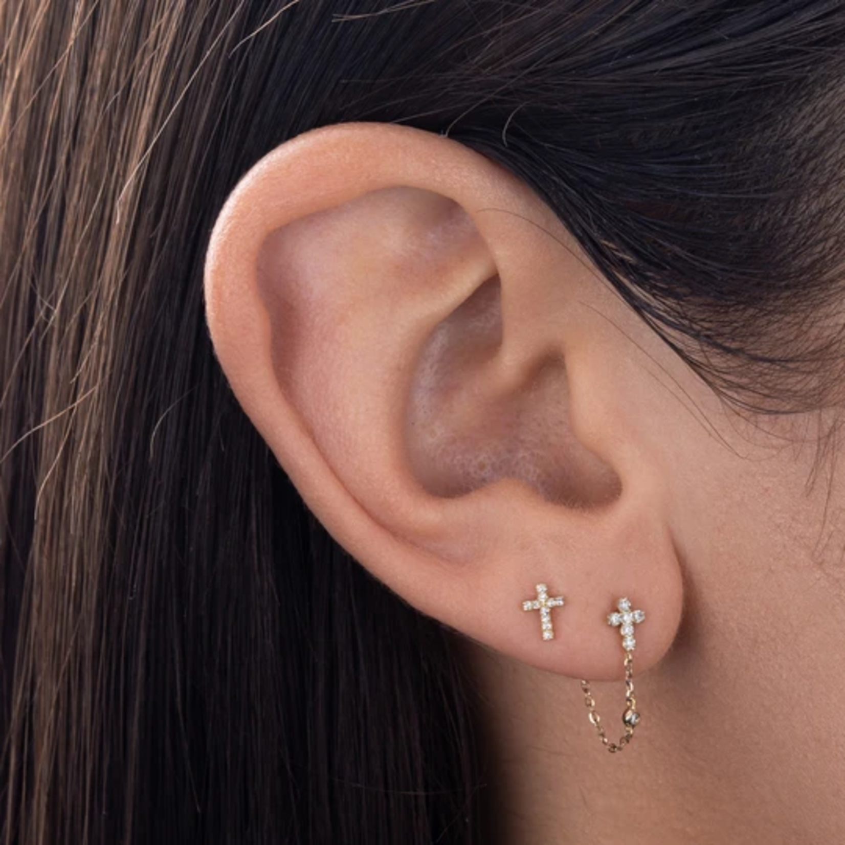 Adinas Diamond Dainty Cross Stud Earring 14K