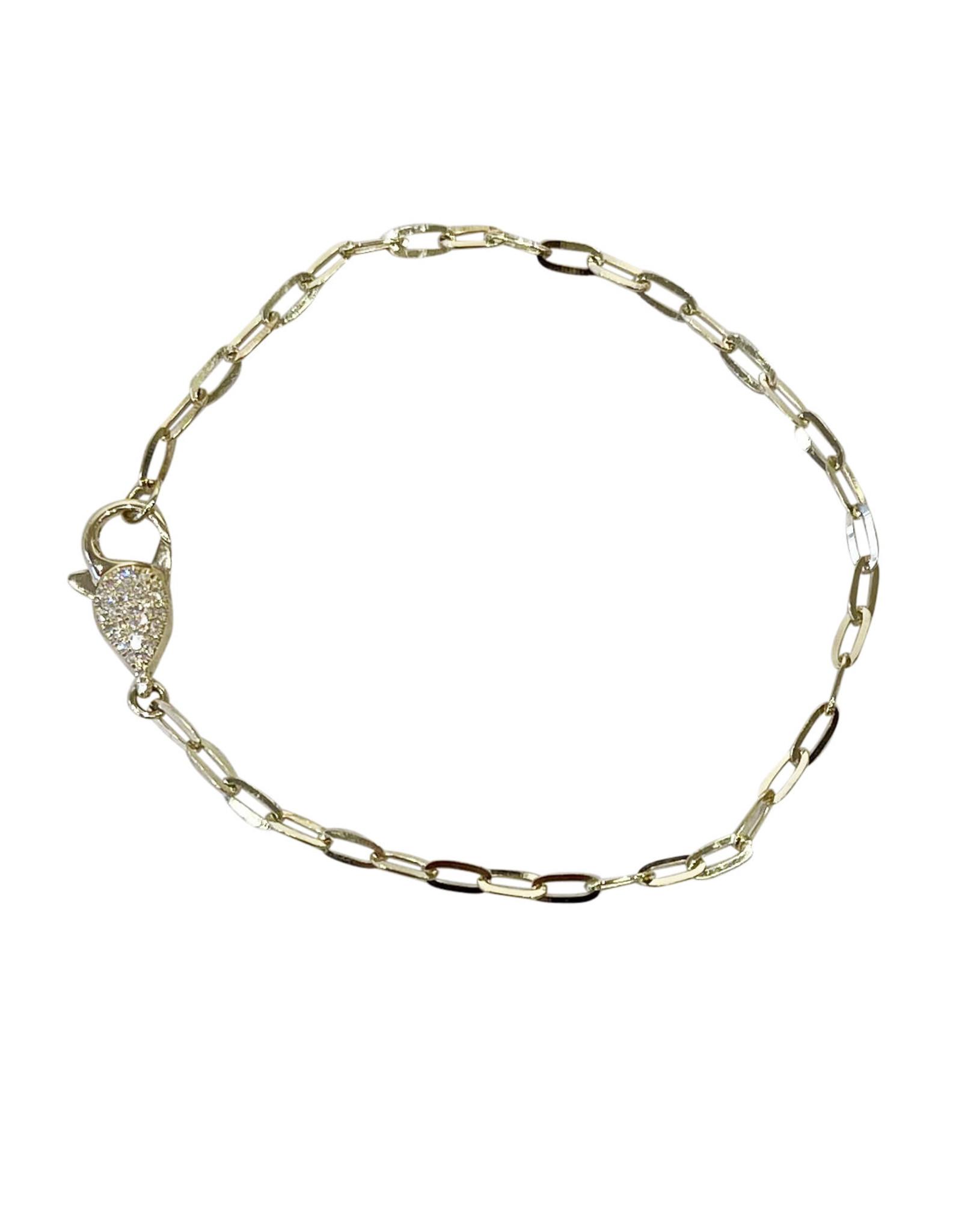 Adinas Diamond Clasp Link Bracelet 14K