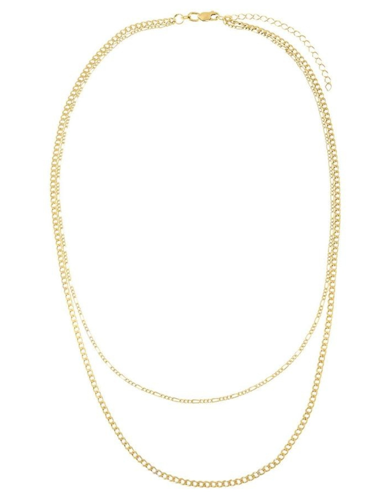 Adinas Double Chain Figaro x Cuban Necklace