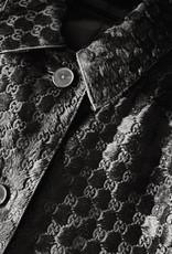 Wyld Blue Vintage 90s Gucci GG Logo Monogram Pony Calf Hair Button Down Black Leather Jacket