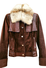 Wyld Blue Vintage 90s GG Gucci Monogram Suede Leather and Fox Fur Moto Bomber Jacket