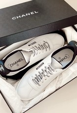 Wyld Blue Vintage Chanel White CC Logo Lace Up Sneakers (Sz 7.5-8)