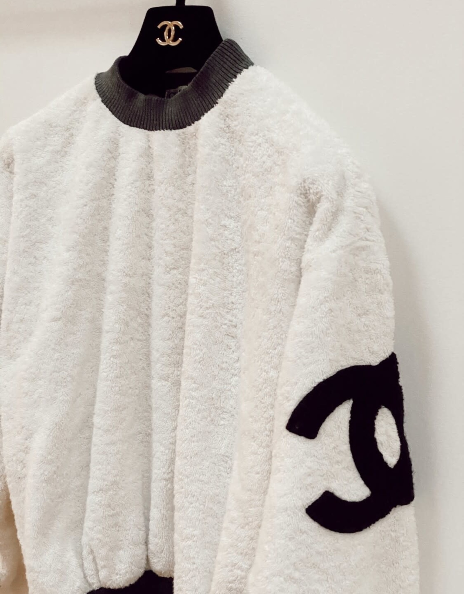 Wyld Blue Vintage Chanel Vintage Terrycloth CC Monogram Sweater Top