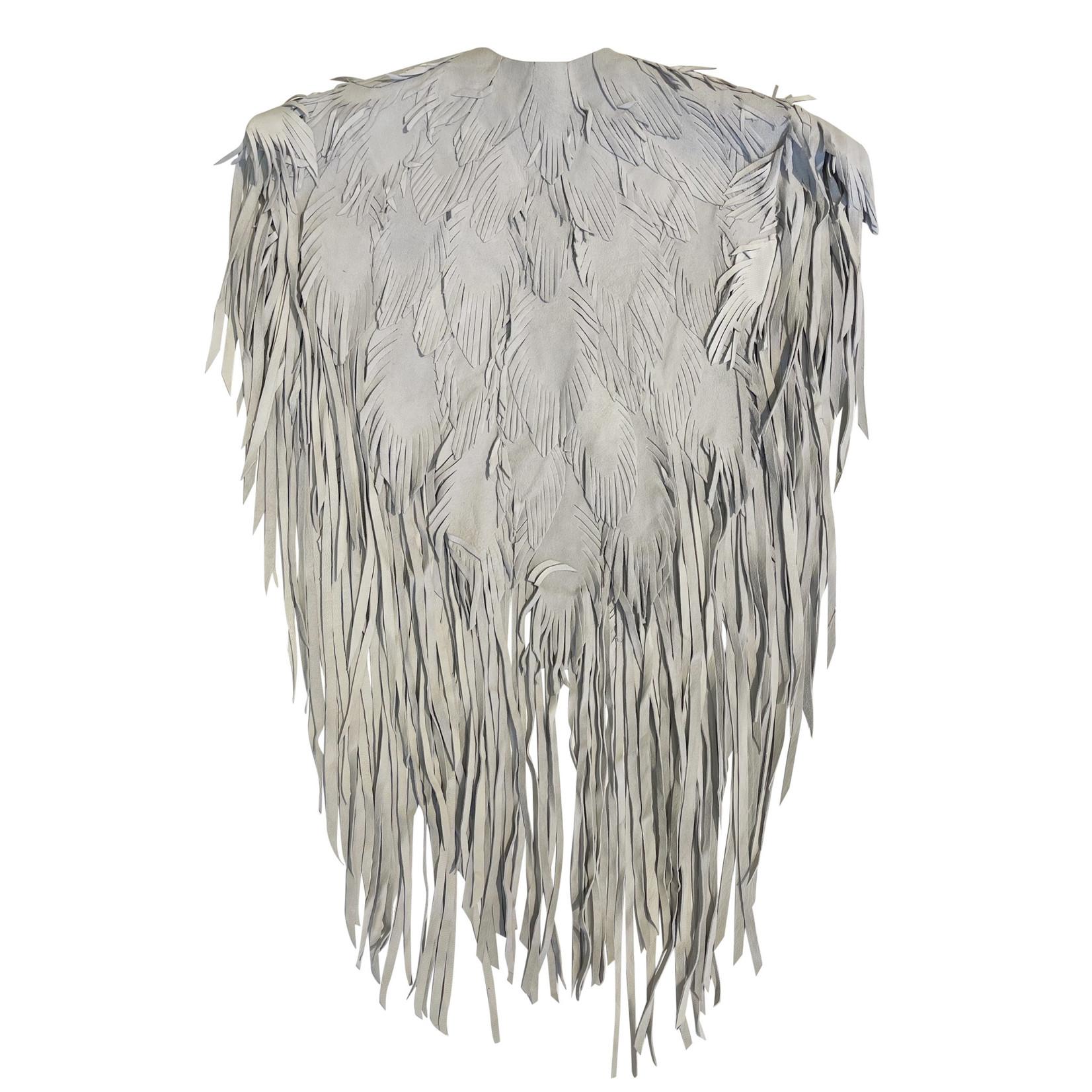 Wyld Blue Vintage Suede Feather Cape (Vintage)