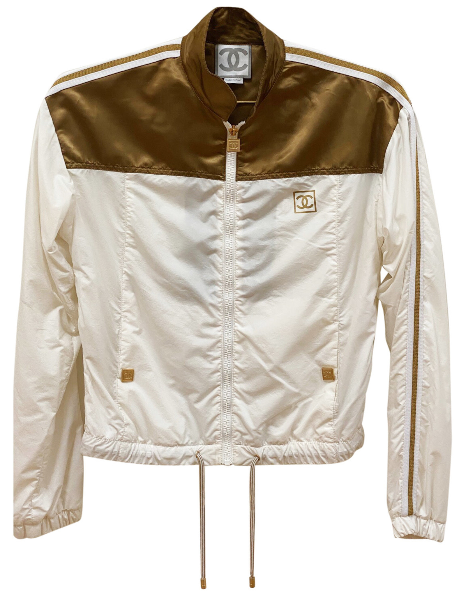 Wyld Blue Vintage Chanel White CC Logo Gold Sport Bomber Jacket (Sz FR 36/US 6)