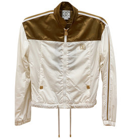 Wyld Blue Vintage White/Gold CC Logo Sport Bomber Jacket (Sz FR 36/US 6)